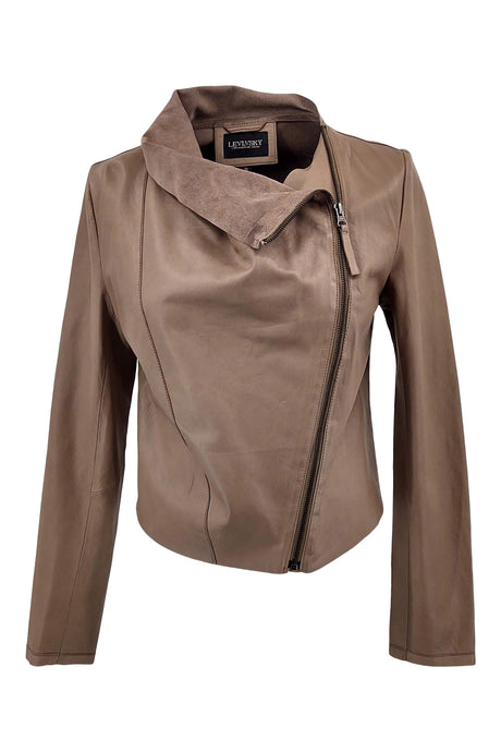 Christelle - Lamb Leather - Women - Brushed Mud / Læder Skinds Jakke - Levinsky - Kvinde | STAMPE PELS