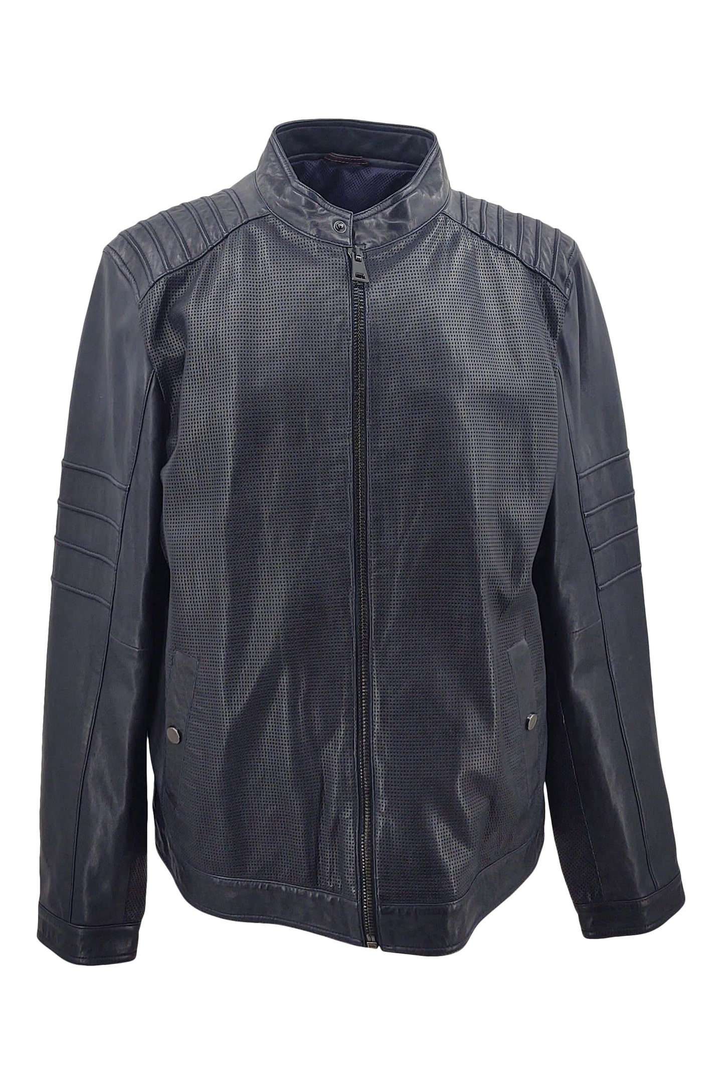 New Nicola - Lamb Liverpool Leather - Man - Navy / Læderjakke | STAMPE PELS