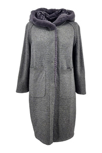 19-125 Wool, 90 cm. - Rex - Women - Dark Grey | STAMPE PELS