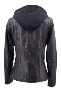 Hailey - Hood - Lamb Leather - Women - Black / Læder Skinds Jakke - Levinsky - Kvinde | STAMPE PELS