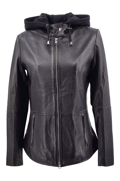 Hailey - Hood - Lamb Leather - Women - Black | STAMPE PELS