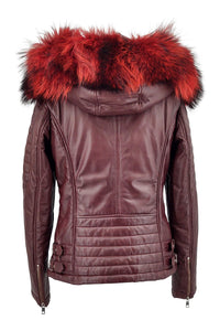 Lisa - Hood - Lamb Glove Leather - Women - Bordeaux | STAMPE PELS