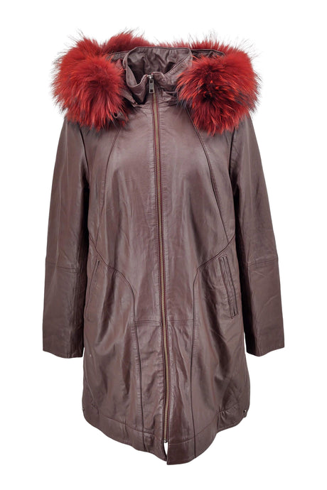 Pia - Hood - Lamb Colt Leather - Women - Bordeaux | STAMPE PELS