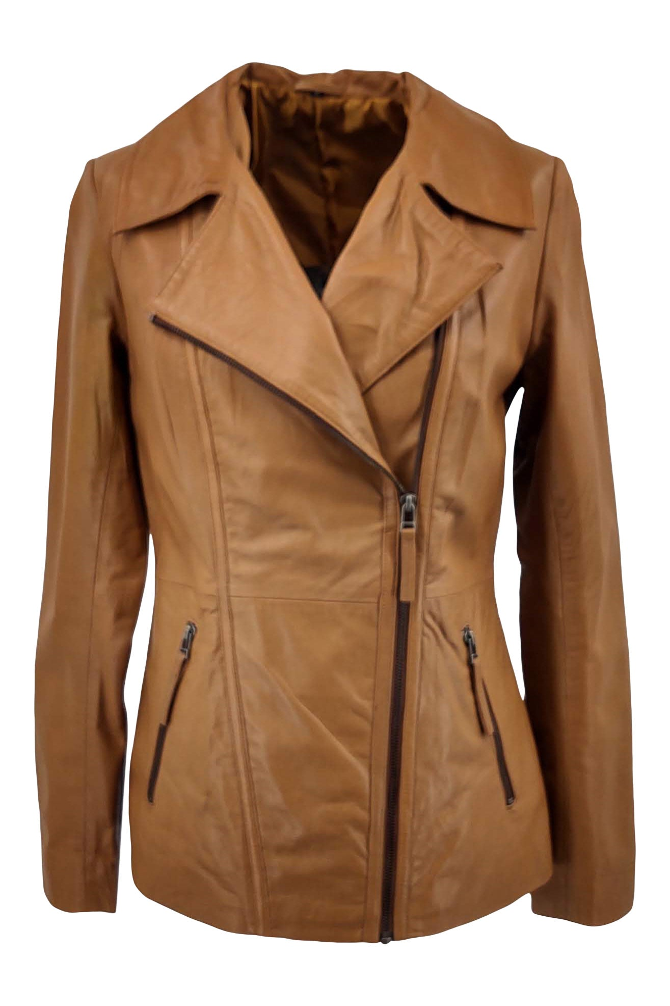 Women's Jacket - Collar - Lamb Copper Leather - Women - Tan / Læder Skinds Jakke - Levinsky - Kvinde | STAMPE PELS