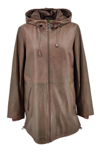 Brenda, Long Coat - Hood - Lamb Malli Leather - Women - Oak - Stampe Denmark