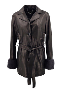 Connie, 75 cm. - Collar - Nappa Leather - Women - Black / Læder Skinds Jakke - Levinsky - Kvinde | STAMPE PELS