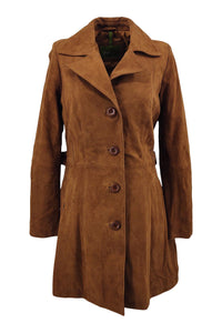 Trench Coat - Goat Suede Thick Leather-Women - Cognac | STAMPE PELS