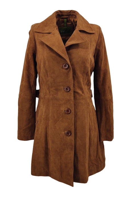 Trench Coat - Goat Suede Thick Leather-Women - Cognac / Læder Skinds Jakke - Levinsky - Kvinde | STAMPE PELS
