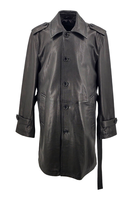 Mens Trench Coat - Lamb Veg Tumble Leather - Man - Black | STAMPE PELS