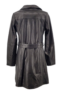 Ladies Trench Coat - Lamb Veg Tumble Leather -Women - Black / Læder Skinds Jakke - Levinsky - Kvinde | STAMPE PELS