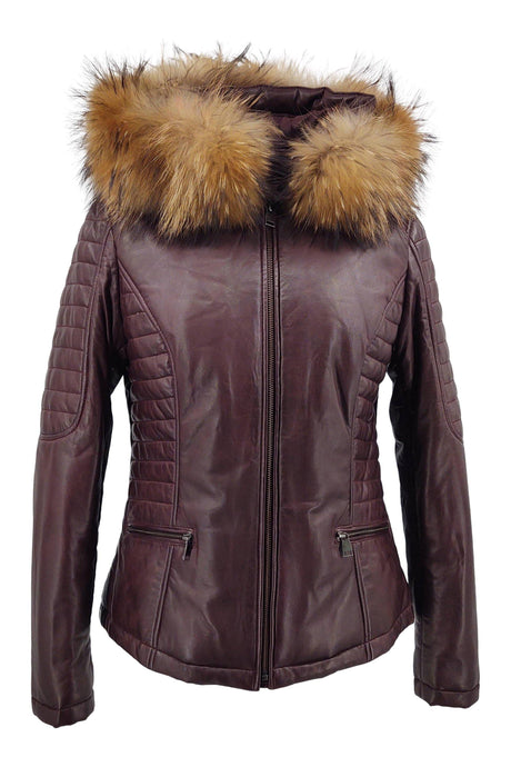 Bette - Hood - Lamb Malli Leather - Women - Bordeaux / Læder Skinds Jakke - Levinsky - Kvinde | STAMPE PELS