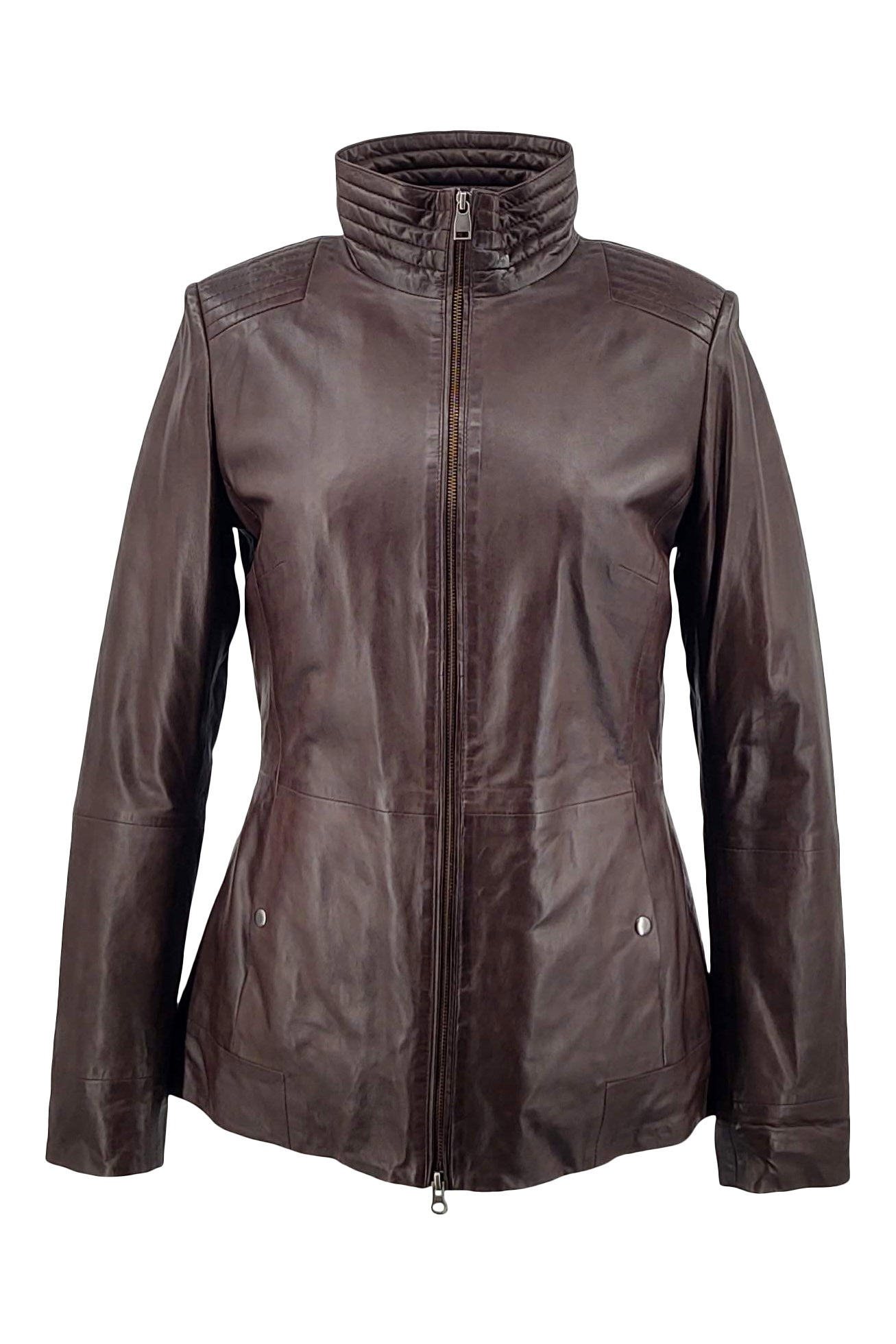 Gaida - Collar - Lamb Malli Leather - Women - Brown / Læder Skinds Jakke - Levinsky - Kvinde | STAMPE PELS
