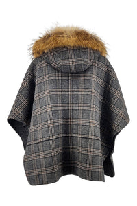Tia Poncho, 67 cm. - Hood - Double Face Wool - Women - Check | STAMPE PELS