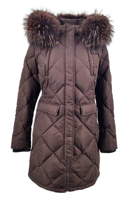 Coruna, 86 cm. - Hood - Faux Down - Women - Dark Brown / Dunjakke | STAMPE PELS