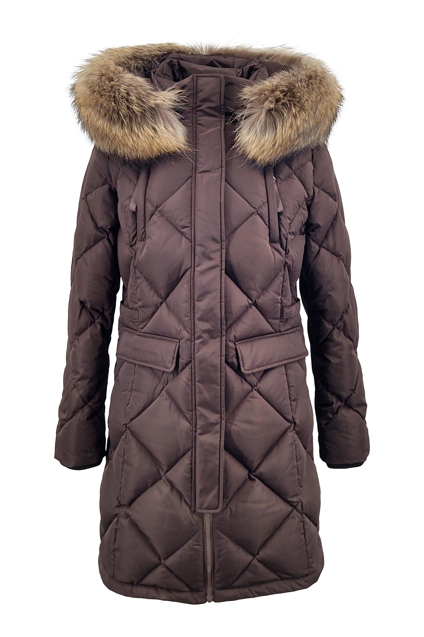 Coruna, 86 cm. - Hood  - Faux Down - Women - Dark Brown | STAMPE PELS