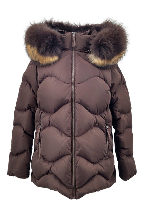 F15, 73 cm. - Hood - Down - Women - Dark Brown / Dunjakke | STAMPE PELS