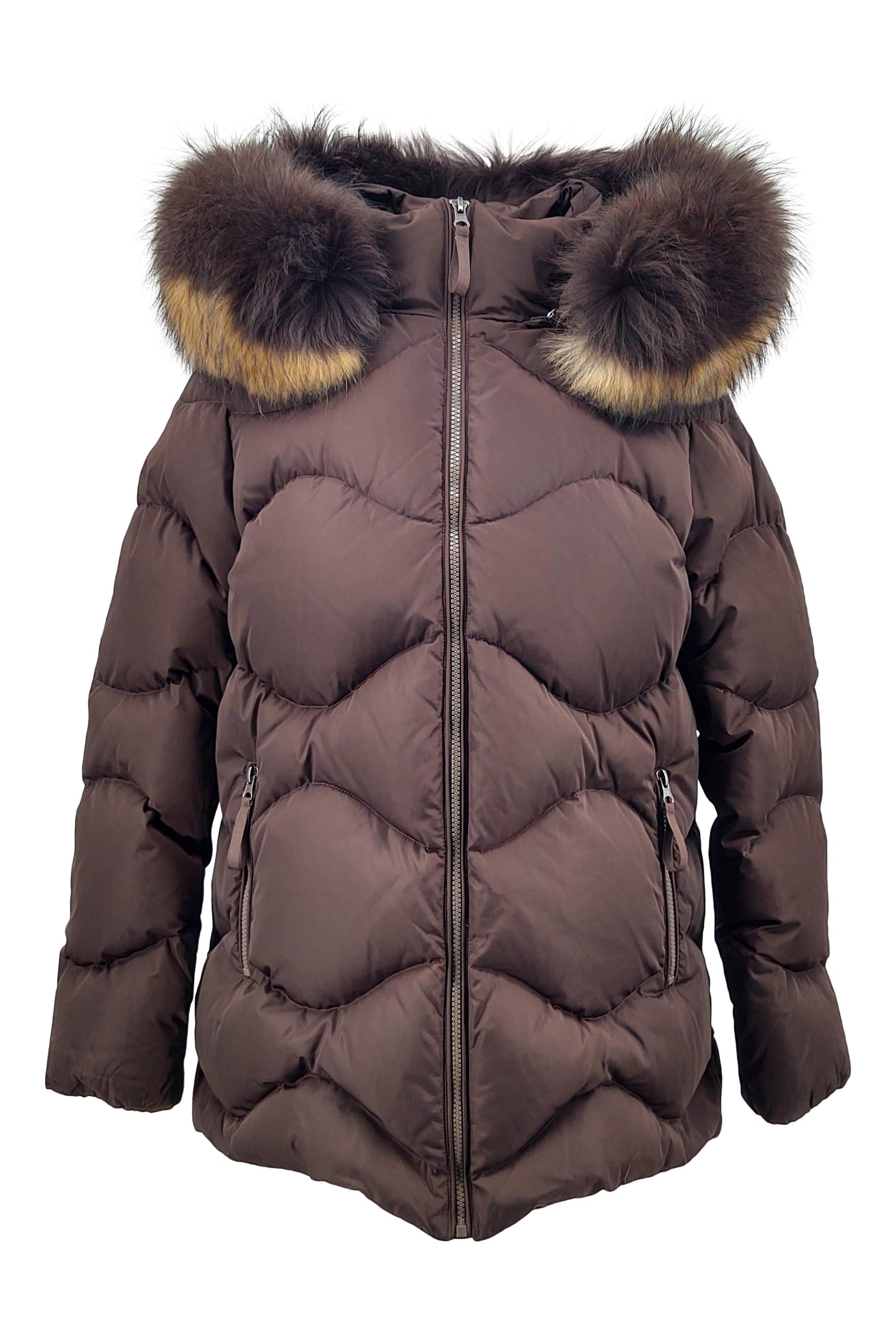 F15, 73 cm. - Hood - Down - Women - Dark Brown | STAMPE PELS