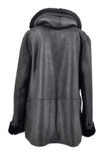 Load image into Gallery viewer, Tara, 70 cm. - Hood - Nappa Lamb Crack - Women - Black | STAMPE PELS