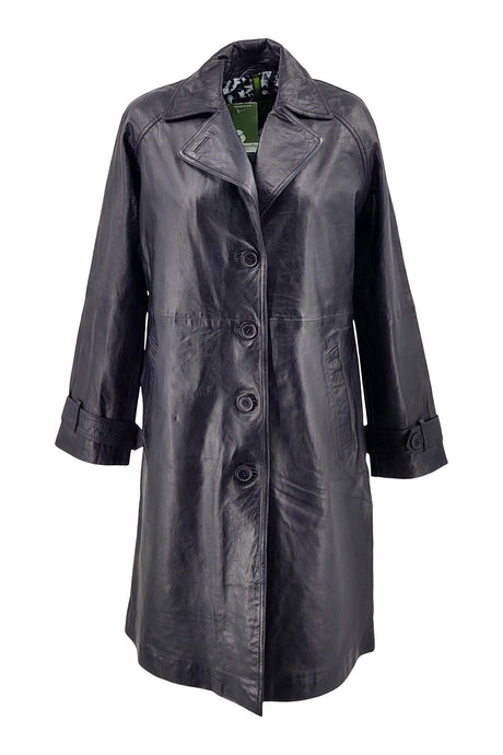 Beverly - Long Coat - Lamb Malli Leather - Women - Navy | STAMPE PELS