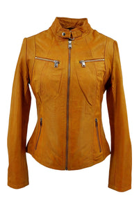 P 14-01 - Lamb Malli Leather - Women - Yellow / Læder Skinds Jakke - Levinsky - Kvinde | STAMPE PELS