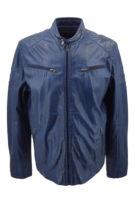 Andy - Lamb Boss Leather - Man - Blue / Læderjakke | STAMPE PELS