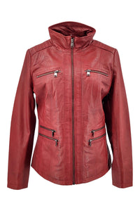 Teija - Lamb Malli Leather - Women - Red / Læder Skinds Jakke - Levinsky - Kvinde | STAMPE PELS