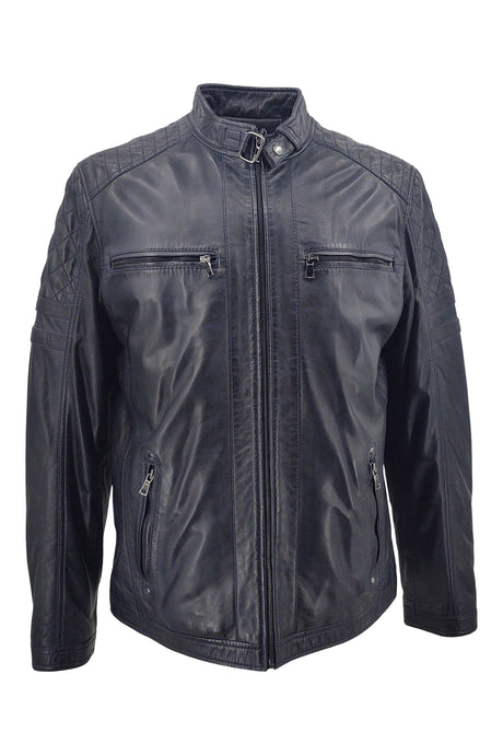 Victor - Lamb Boss Leather - Man - Navy / Læderjakke | STAMPE PELS