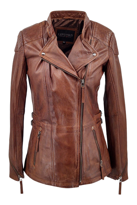 Frances - Lamb Copper Leather - Women - Brown / Læder Skinds Jakke - Levinsky - Kvinde | STAMPE PELS