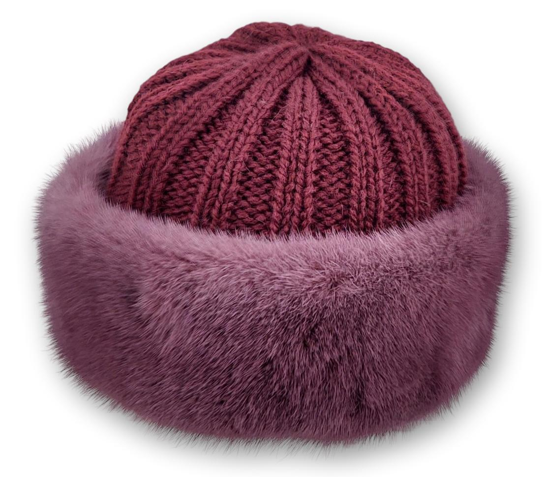 632-683-07-75 Hat - Mink Knitted - Accesories - Red (Hue) | STAMPE PELS