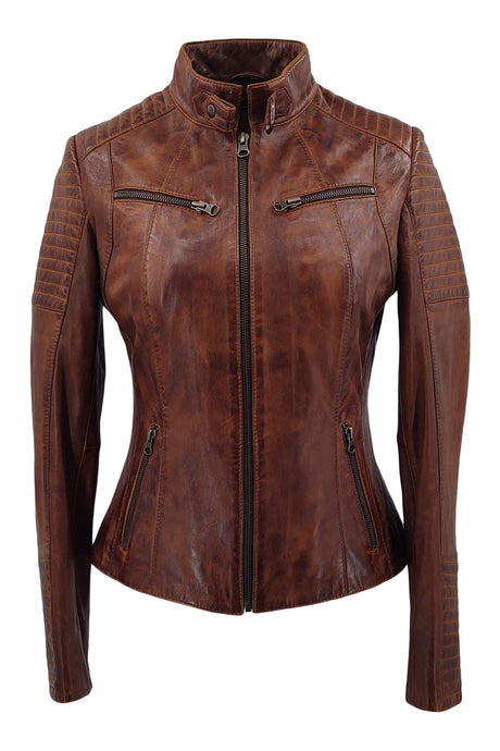Chole - Lamb Copper Leather - Women - Brown / Læder Skinds Jakke - Levinsky - Kvinde | STAMPE PELS