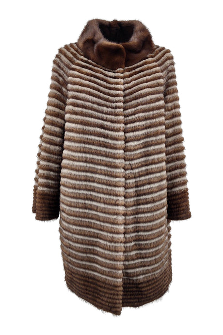 219D, 80 cm. - Mink & Wool - Women - Silver Blue & Brown | STAMPE PELS