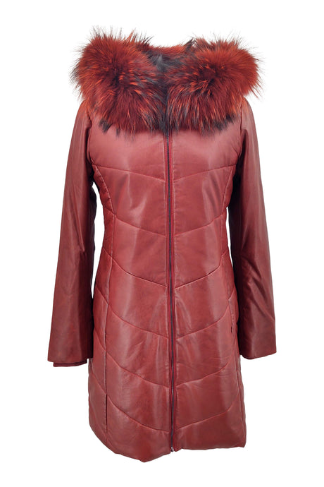 Edda - Lamb Silk Leather - Women - Red / Læder Skinds Jakke - Levinsky - Kvinde | STAMPE PELS