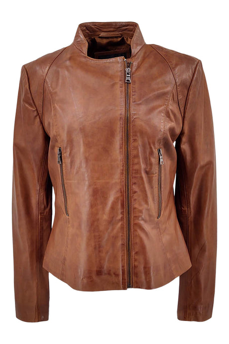 Tracy 2 - Lamb Glove Leather - Women - Tan / Læder Skinds Jakke - Levinsky - Kvinde | STAMPE PELS