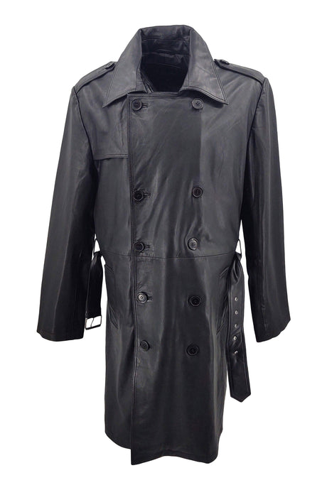Trench - Lamb Boss Leather - Man - Black | STAMPE PELS