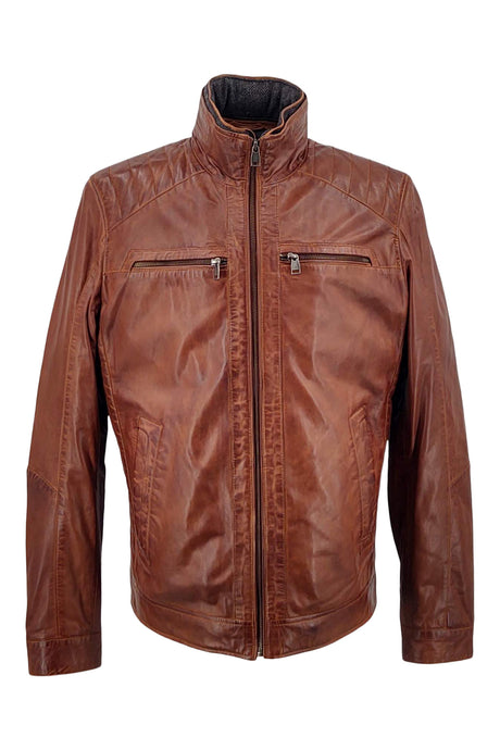 Smart - Lamb Copper Leather - Man - Dark Cognac / Læderjakke | STAMPE PELS