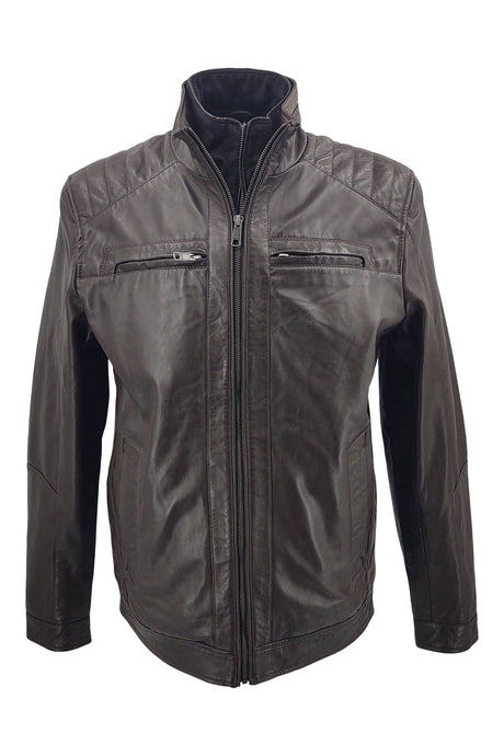 Smart - Lamb Khaas Leather - Man - Dark Brown / Læderjakke | STAMPE PELS