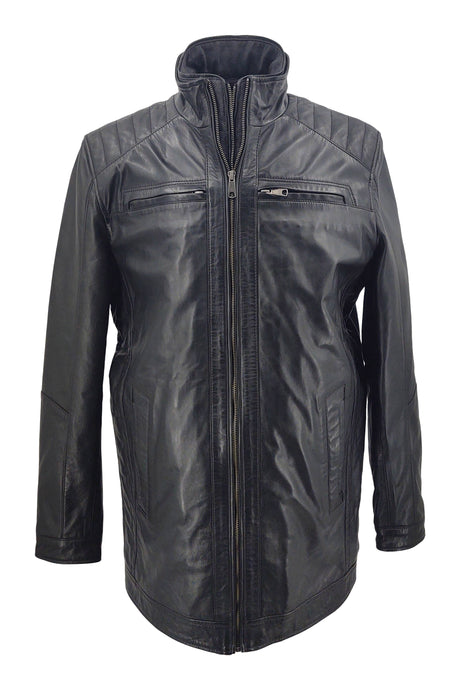 Smart Long - Lamb Khaas Leather - Man - Black / Læderjakke | STAMPE PELS