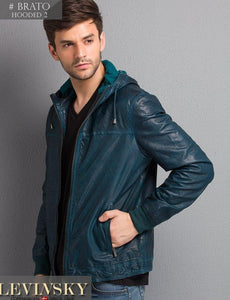Brato Hooded - Lamb Rover Leather - Man - Petrol | STAMPE PELS