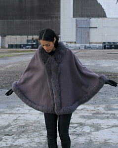 Chadron Cape, 65 cm. - Thinner Double Face Wool - Grey | STAMPE PELS