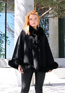 Chadron Cape, 65 cm. - Thinner Double Face Wool - Black | STAMPE PELS