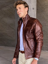 Load image into Gallery viewer, Marlow - Collar - Lamb Polish Nappa Leather -Man - Copper Brown / Læderjakke | STAMPE PELS
