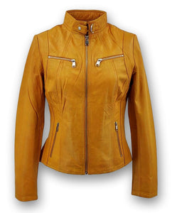 P 14-01 - Lamb Malli Leather - Women - Old Yellow / Læder Skinds Jakke - Levinsky - Kvinde | STAMPE PELS
