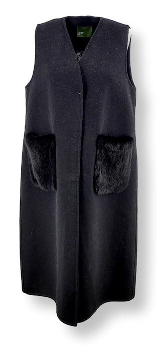 Clichy West, 104 cm. - Collar - Double Face Wool - Women - Black | STAMPE PELS