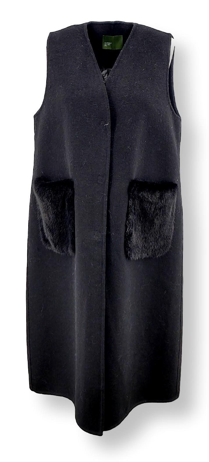 Clichy West, 104 cm. - Collar - Double Face Wool - Women - Black - Stampe Denmark
