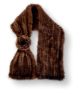 Shawl with Rose - Mink Knitted - Accesories - Brown / Sjal | STAMPE PELS