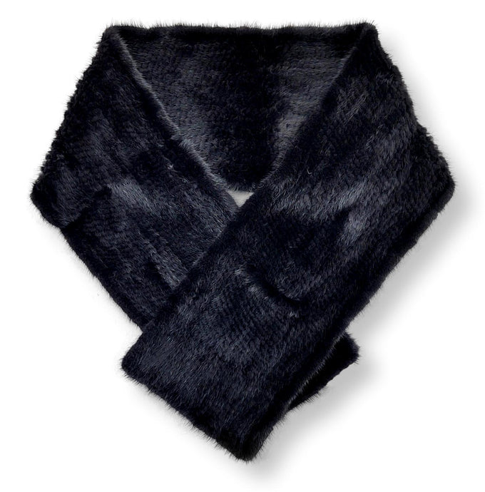 Scarf, 180*25 cm. - Mink Knitted - Accesories - Black | STAMPE PELS