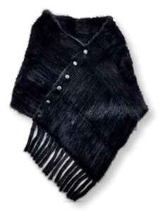W1258 Shawl - Mink Knitted - Accesories - Black / Sjal | STAMPE PELS