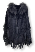 Load image into Gallery viewer, Ibina Poncho - Rabbit - Women - Black | STAMPE PELS