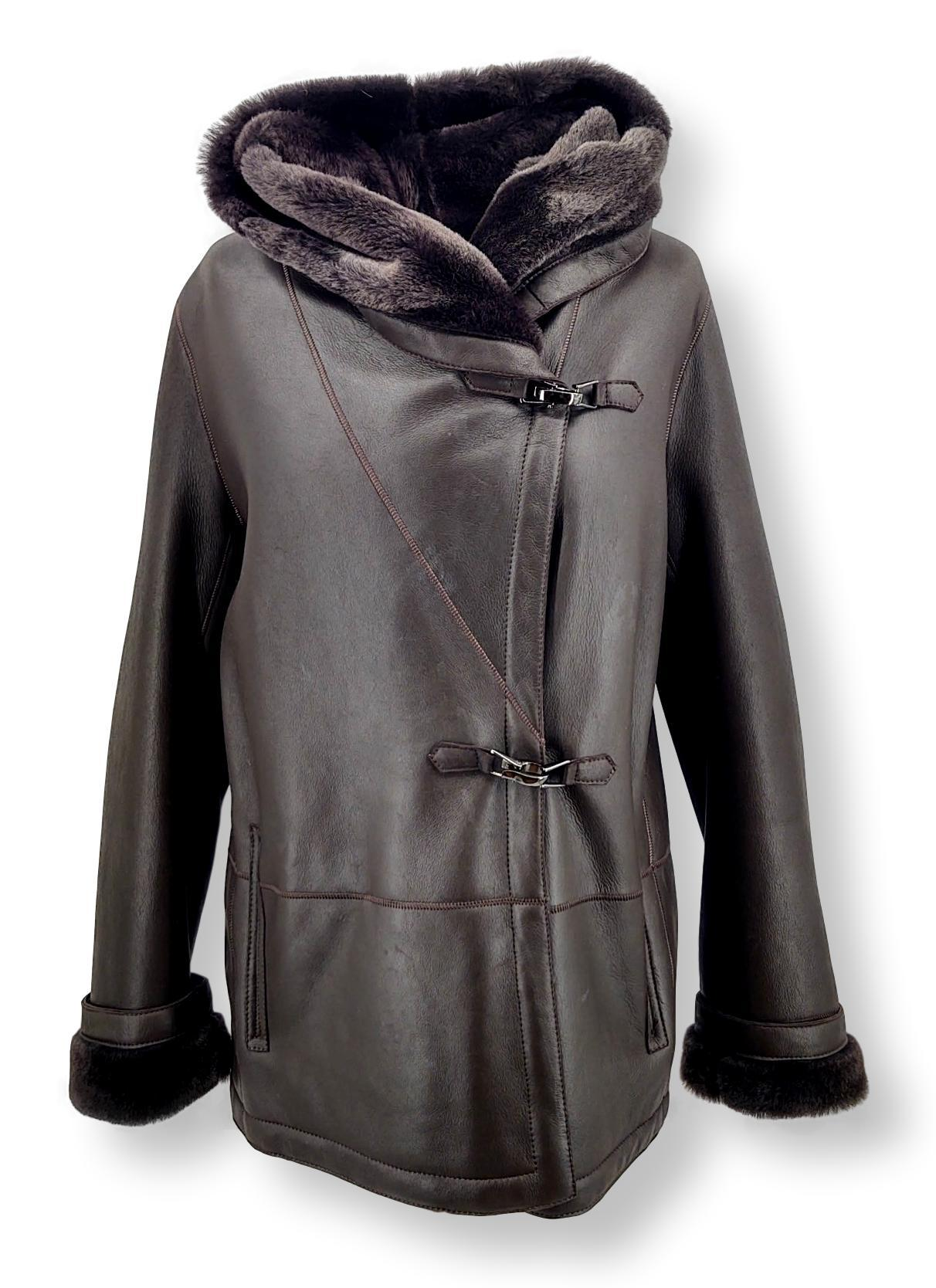 969, 70 cm. - Hood - Nappa Lamb Crack - Women - Brown | STAMPE PELS