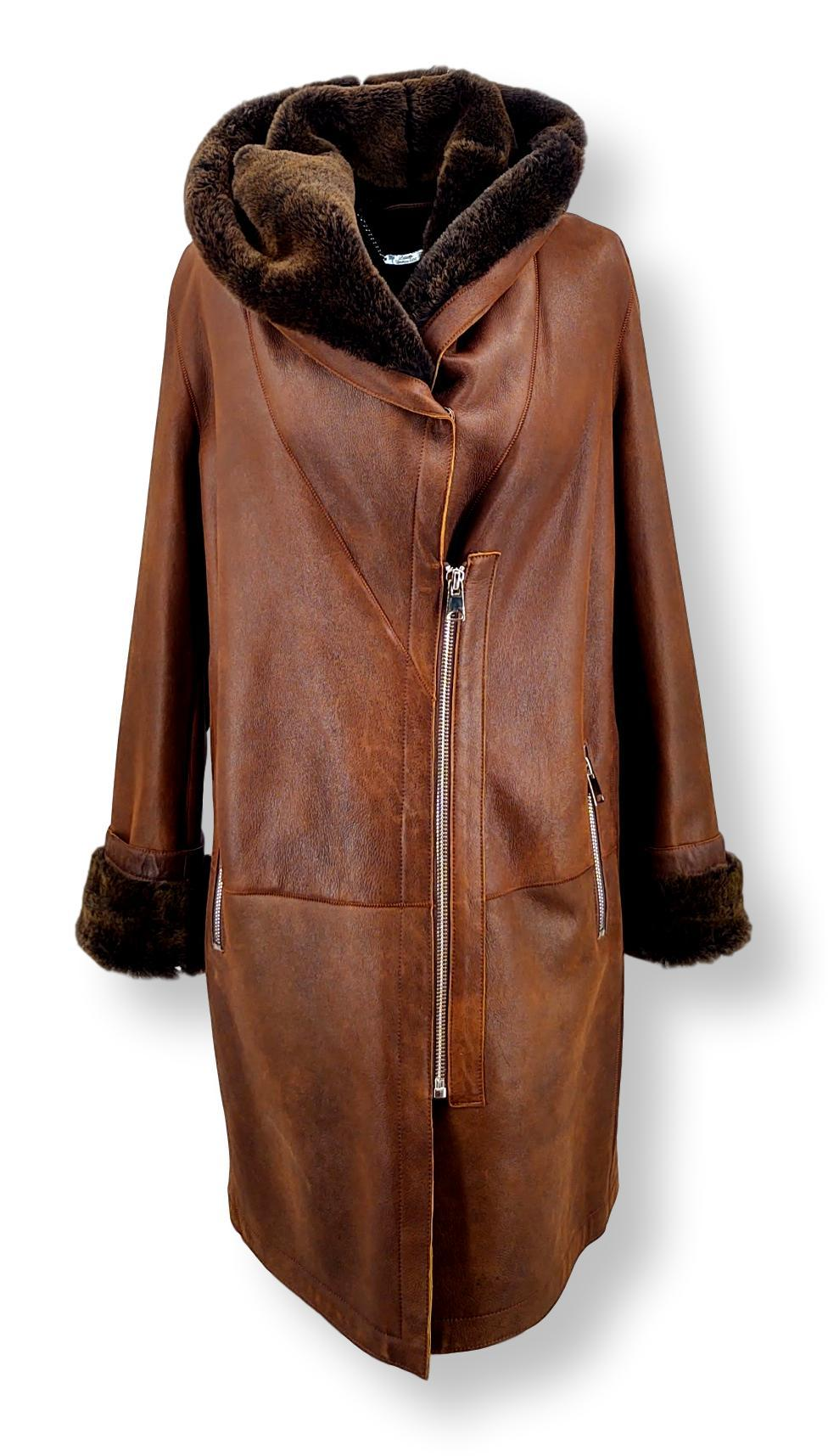 Piemonte, 90 cm. - Hood - Nappa Lamb Jungle - Women - Dark Cognac | STAMPE PELS